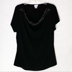 Jaclyn Smith black blouse with silver rivets